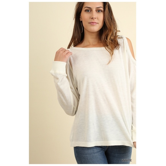 Tops - White Long Sleeve Cold Shoulder Blouse S/M/L